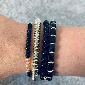 Set of 4 Black & Silver Stretch Bracelets